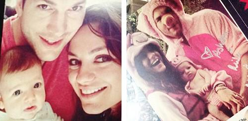 Some Friends! Pics of ASHTON KUTCHER & MILA KUNIS' Baby WYATT Leaked Via Christmas Card