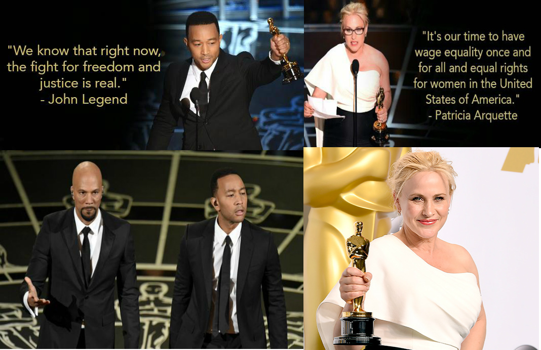How Oscar Winners PATRICIA ARQUETTE, COMMON & JOHN LEGEND Used Their Winning Moments to Call Attention To Less Superficial and More Serious Issues and Concerns in the World